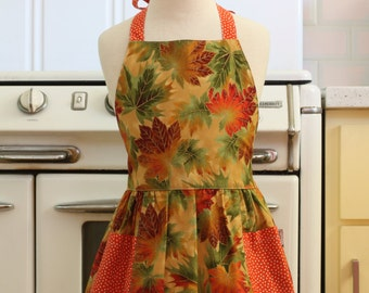 Retro Apron Fall Leaves Full Apron for Little Girls