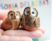 Clay owls - Owl wedding cake topper  -Rustic clay owls - Woodland Cake Topper - CUSTOMIZED for You with your own colors