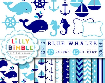 40% off Blue Whale Clipart and Digital Scrapbook Paper, navy, light blue, whales, cute, boy, anchors, seahorse, nautical Instant Download