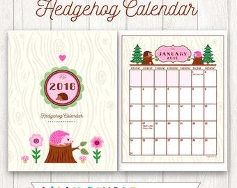 50% off Printable 2016 Hedgehog Calendar Cute, Kawaii, Woodland, monthly calendar