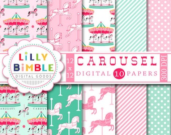 60% off Carousel Digital Scrapbook papers Merry Go Round, horses, birthday INSTANT DOWNLOAD Lilly Bimble