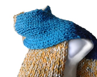 Rib Knit Scarf Navy Turquoise Yellow Men Women ALEX Ready to Ship Autumn Winter Gift Accessories