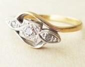 Art Deco Geometric Diamond Trilogy Ring, 18k Gold Diamond Engagement Ring Approx. Size US 6.5