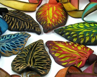 Tutorial Faux Carved Fall Leaves, Polymer Clay, Necklace, Brooch, Pendant