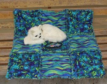 Cat Blanket, Cat Quilt, Small Dog Bed, Cat Bed, Cat Bed with Toy, Handmade Cat Blanket, Colorado Catnip Blanket, Cat Mat, Crate Mat, Pet Mat