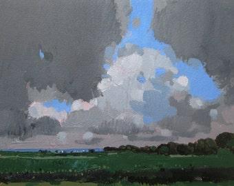 August Haze, Original Summer Landscape Painting on Paper, Stooshinoff
