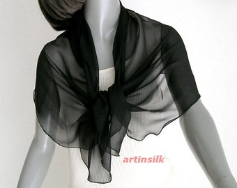 "Black Small Scarf, Petite Shoulder Scarf, Sheer Black Chiffon, Silk Chiffon 8mm, Small Coverup Wrap, Pure Mulberry Silk, 19"" x 43""."