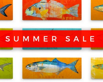 """Saltwater Fish Art Block Sign- Dad Gift- Pick the Print- 4""""x11"""" Fish Wall Decor- Husband Gifts- Dad Fishing Gifts for Men"""