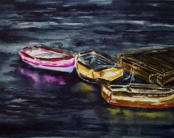 Pink Row Boat Reflections Watercolor Art Seascape Original Painting by California Artist debra alouise