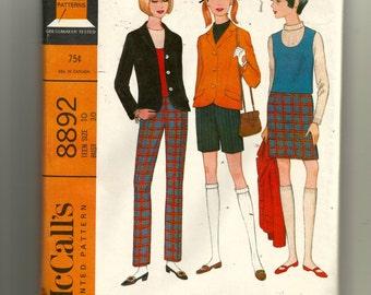 McCall's Teen Separates: Jacket, Jerkin, Skirt, Pants or Shorts   Pattern 8892