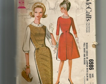 McCall's Misses' Dress or Jumper with Slim or Skirt and Blouse Pattern 6986