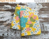 35% OFF CRAZY SALE- Vintage Floral Fabric-  Reclaimed Vintage Bed Linens Fabric