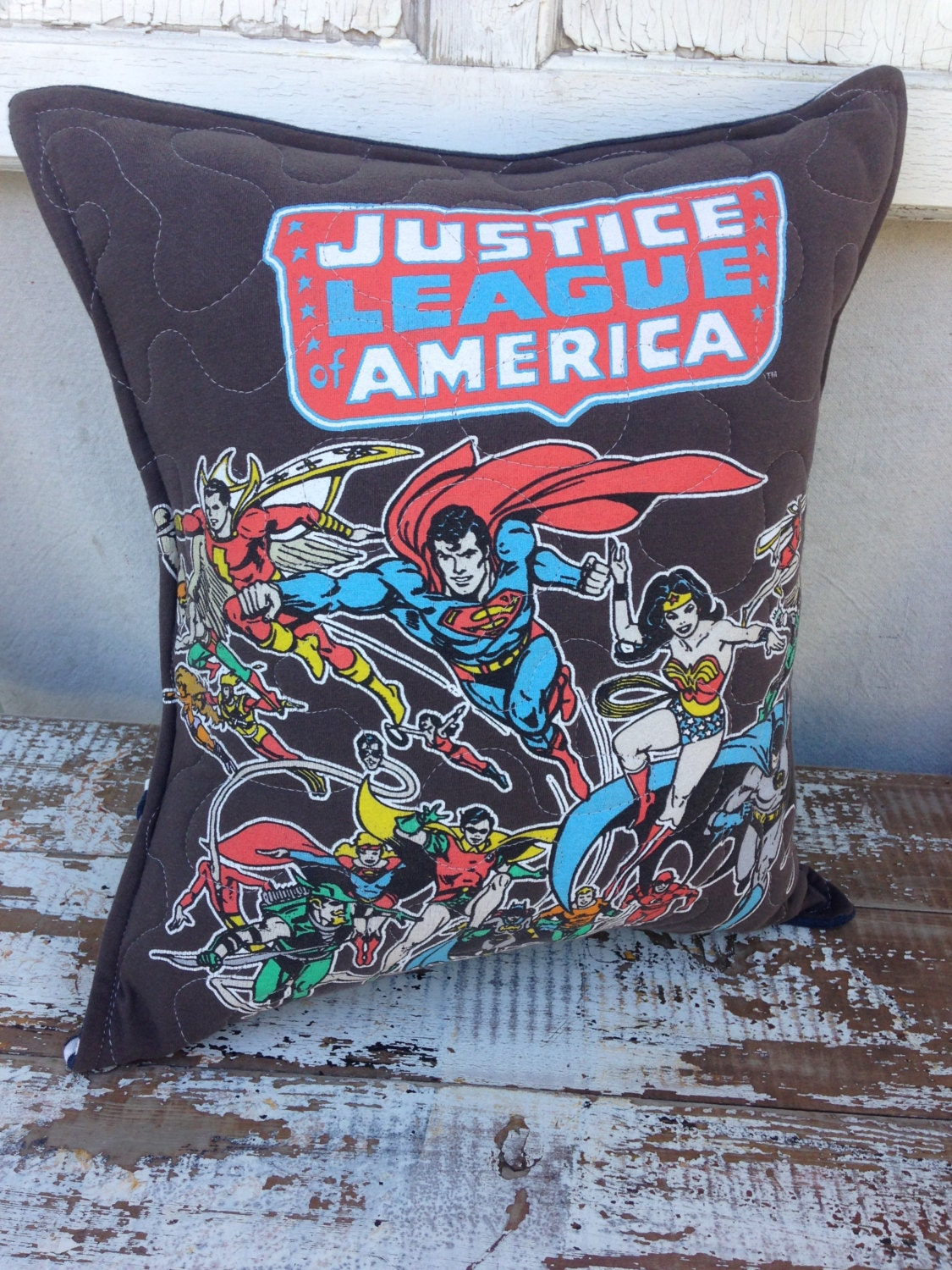 Justice League America Throw Pillow-Comic IconicUpcycled