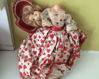 Marie Antoinette Headless Doll / Very old / Red Heart Dress Heart Necklace
