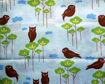 Robert Kaufman Hot Couturier Owls on Blue - Rare out of Print Fabric 1/2 yard piece