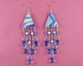 Blue and Purple Chandelier Earrings - marbled polymer clay triangles, dangly beads, sparkly glittery, boho bohemian, tribal hippie hippy
