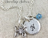 Sterling Silver Petite Butterfly Charm Necklace, Personalized With Initial And Birthstone, Sterling Silver Butterfly Jewelry, Sterling