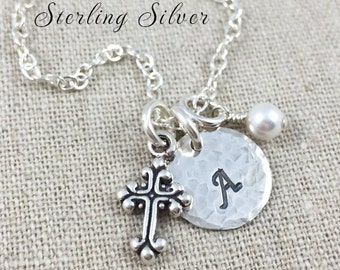 Personalized Cross Charm Necklace, Initial Jewelry, Birthstone Necklace, First Communion Gift, Sterling Silver Cross Necklace