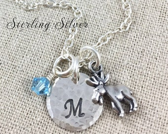 Personalized Petite Moose Charm Necklace, Hand Stamped Sterling Silver Initial & Birthstone Jewelry, Personalized Moose Necklace, Moose Gift