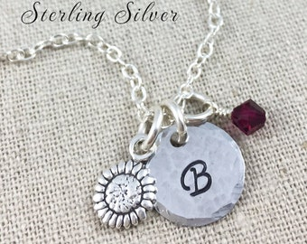 Personalized Sunflower Charm Necklace, Sterling Silver Sunflower Jewelry, Personalized Initial And Birthstone, Sunflower Gift