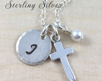 Hand Stamped Necklace - Cross Charm Necklace - Custom Initial - Personalized Necklace - Sterling Silver - Personalized Jewelry