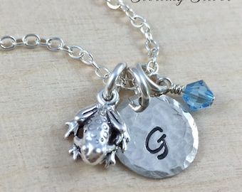 Sterling Silver Frog Charm Necklace, Hand Stamped Initial Necklace, Personalized Frog Charm Necklace, Personalized Gift, Frog Charm