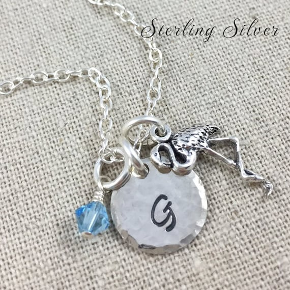 Personalized Flamingo Charm Necklace, Sterling Silver Flamingo Jewelry, Hand Stamped Initial Necklace, Personalized Gift, Flamingo Charm