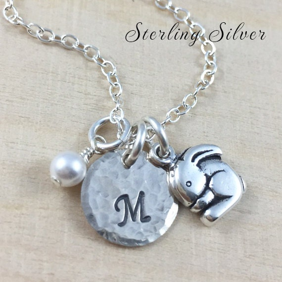 Personalized Jewelry - Petite Bunny Charm Necklace - Sterling Silver Necklace With Hand Stamped Initial And Birthstone