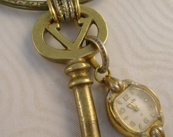 V is for Victory - Antique Victor Victrola Brass Key Ladies Watch Steampunk Recycled Repurposed Jewelry Necklace
