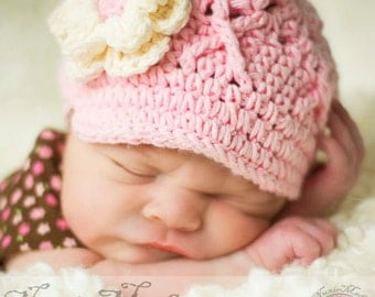 Newborn Pink Baby Hat, Girls Hat, Crochet Hat, newsboy hat, pink crochet hat, newborn hat, girl hat, child hat, Newborn Photo Prop, kids hat