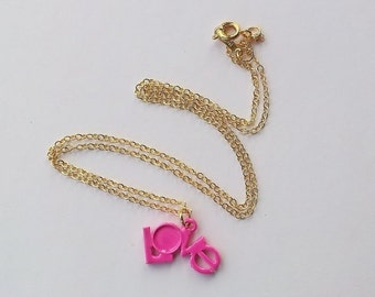 On Sale Neon pink Love necklace