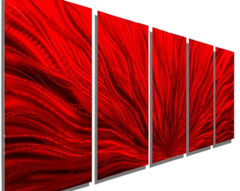 NEW! Oversized Red Modern Metal Wall Art, Multi Panel Wall Art for a Modern Decor, Extra Large Wall Sculpture - Red Plumage XL by Jon allen