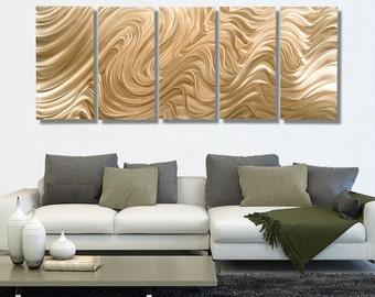 NEW! Huge Abstract Metal Wall Art Sculpture in Light Copper, Multi Panel Wall Art Modern Decor - Copper Hypnotic Sands 5P XL by Jon allen