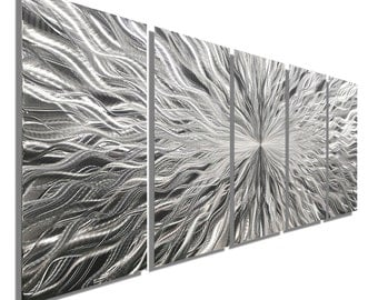 Large Multi Panel Contemporary Metal Wall Art in Silver, Modern Metal Wall Decor, Set of 5, Wall Sculpture - Vortex 5P by Jon allen