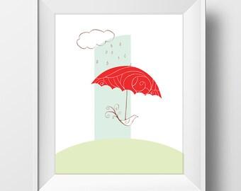 Printable Digital Bird Red Umbrella Art Motivational Print Digital Download
