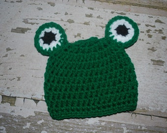 baby frog hat, baby hat, crochet frog hat, infant frog hat, frog outfit, halloween costume, baby girl beanie, boy, froggy hat, 3-6 months
