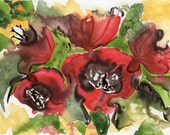 painting original watercolor SFA portrait RED poppies