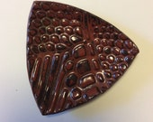 Triangle 5 by 4.5 inch dark red and black soap dish