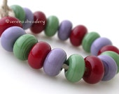 Lampwork Spacer Beads APPLE TREE Handmade Glass Mixed Set - TANERES sra green red purple