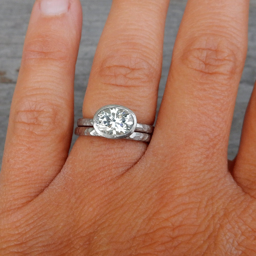 oval moissanite engagement ring 15 carat by mcfarlanddesigns