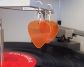 Orange Vinyl Record Earrings - Handmade Guitar Picks made from Vinyl Records - Fashion Gift for Rockers, Musicians - Hit Record Earrings