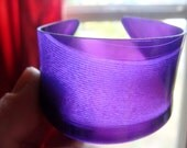 Purple Transparent Vinyl Record Cuff Bracelet - Violet Record Cuff - Rock and Roll Boho Jewelry