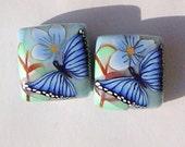Blue Butterfly Floral Handmade Artisan Polymer Clay Bead Pair