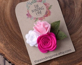 Pink/White Felt Flower Cluster Hair Clip/Barrette/Headband, Felt Hair Accessory for baby, toddler, child, teen, or adult