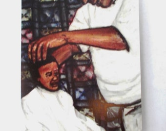 Barber Shop, Sale 10 for 6, Fathers Day, Birthday, Greeting Cards, oil painting, original art, Fine Art Card