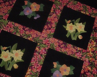 Quilt Top to Finish Appliqued Spring Flowers on Black Multicolor Floral 36 1/2 x 52 inches