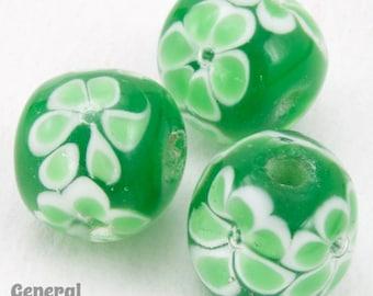 12mm Green with Light Green Flowers Lampwork Bead (4 Pcs)  #4805