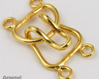 10mm Gold Tone Hook and Eye Clasp Set with 2 Loops #CLD110