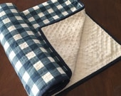 Navy and White Plaid minky backed baby blanket