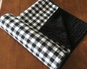 Black and White Buffalo plaid quilted minky baby blanket